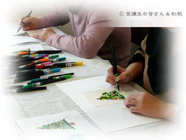 2012年12月バンビオでの夢ロゴアート体験講座の様子