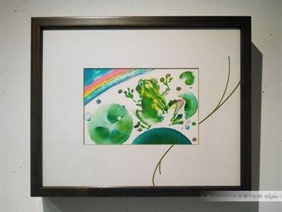 夢ロゴアート「雨、蛙」額装