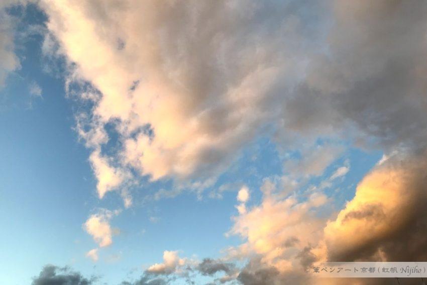 夕方の空、夕陽が雲に反射しています。2020年1月8日撮影