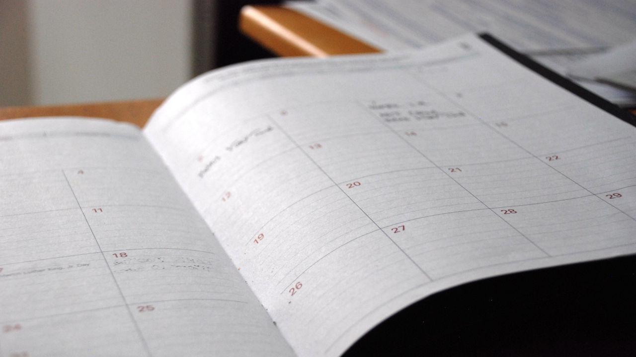 スケジュール帳の写真