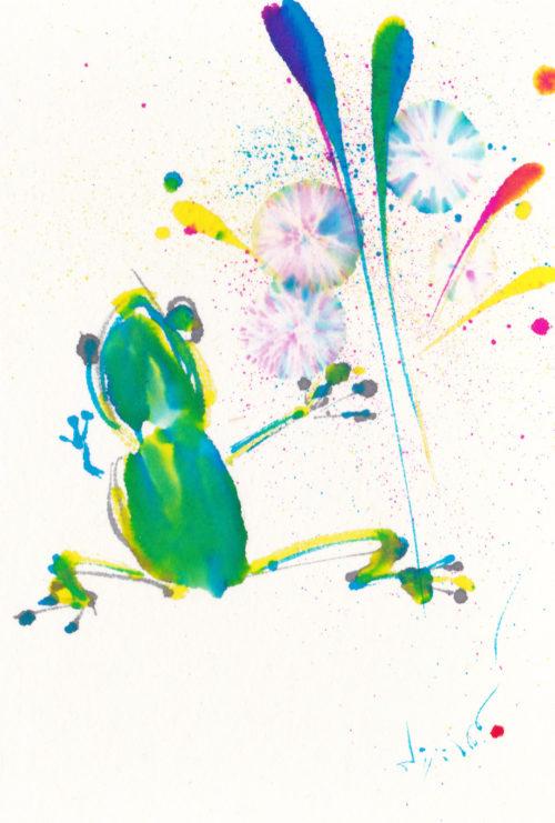夢ロゴアート「跳ぶ — 飛ぶ、跳ぶカエル —」
