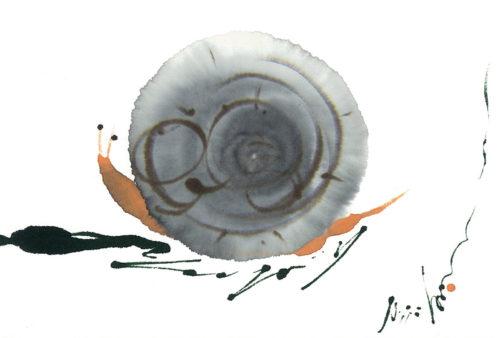 第17回be京都ポストカードコレクション出展作品「蝸牛/ゆっくり」