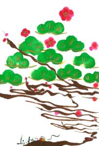 夢ロゴアート「きよしこのよる — 松梅ツリー —」